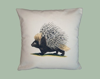Darling Vintage Porcupine Illustration 16x16 HANDMADE Pillow Cover  -- Choice of Fabric