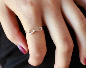 Infinity Knot Midi or Regular Ring - gold or silver