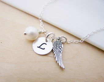 Tiny Angel Wing Charm Memory Necklace Swarovski Birthstone Initial Personalized Sterling Silver Necklace / Gift for Her