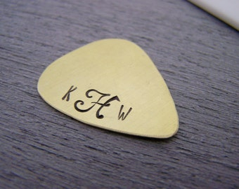 Script Monogrammed Initial Personalized Guitar Pick / Gift for Him / Gift for Dad / Musician Gift