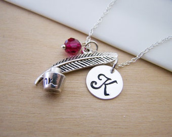Quill and Ink Writer Charm Swarovski Birthstone Initial Personalized Sterling Silver Necklace / Gift for Her