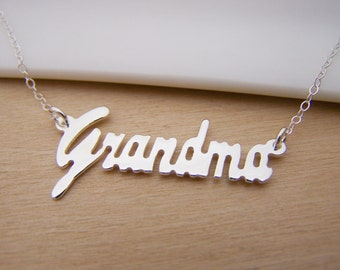 Grandma Script Love Charm Sterling Silver Necklace Simple Jewelry / Gift for Her - Gift for Grandma - Grandmother Necklace