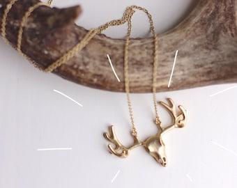 Deer Skull Necklace // Gold
