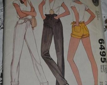 McCalls 6495 Junior / |Teen Pants or Shorts Sewing Pattern  - UNCUT - Size  7-8 Waist 23