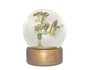 Drops of Stone original beaded sculpture snow globe