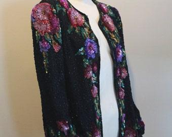 Vintage 1980's Laurence Kazar Sequin & Beaded Black Floral Trophy Jacket