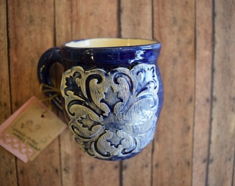 Cobalt Blue Handmade Mug with Added Decorative Embellishment