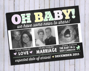 Pregnancy Announcement | Expecting Announcement | Pregnant Announcement | Oh Baby Custom Digital Invitation