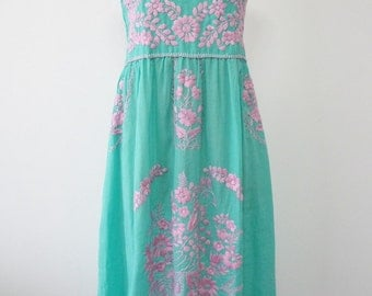 Mexican Embroidered Sundress Cotton Strapless Dress In Green With Lining, Boho Dress, Beach Dress