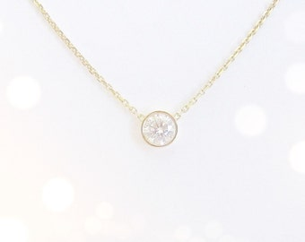 Diamond Solitaire Necklace Bezel Set 0.30 ct. (14k white or yellow gold)