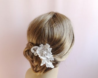 Lace bridal headpiece, wedding lace hair piece,  rhinestone pearls embroidery lace, wedding hair accessory, Style 285