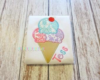 Damask Ice Cream Cone Appliqued Shirt - Embroidered, Personalized, Monogram, Ice Cream, Damask, Summer, Girls Ice Cream Shirt