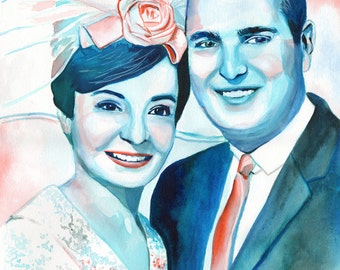 45 ANNIVERSARY GIFT for parents, for grandparents, sapphire anniversary gift ideas, 45th anniversary, blue sapphire custom portrait painting