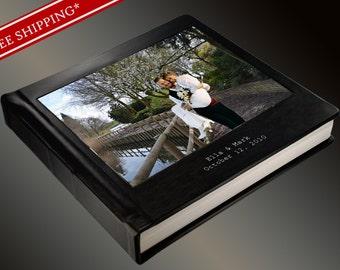 Photo Album Flush Mount Wedding Album with Full Cameo and 2 lines of Imprinting - Custom Photo Album 10 x 10 Genuine Leather Cover