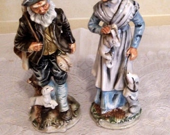 Vintage Pacific Japan Hand Painted Old Couple Figurines