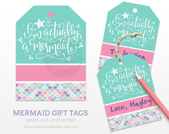 Mermaid Gift Tags | birthday present favor beach girls starfish label wedding bachelorette printable | PDF File, INSTANT DOWNLOAD
