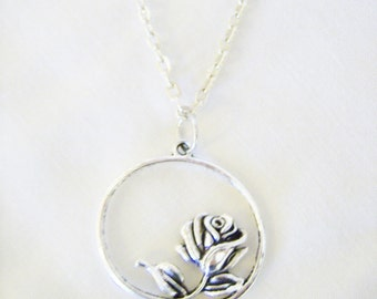 Silver rose pendant necklace  - circle flower metal necklace - flower jewelry - circular pendant rose necklace - flower themed gift