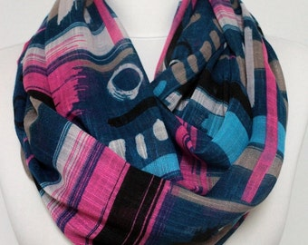 Geometric Shaped Pattern Infinity scarf, Circle scarf, Loop scarf, scarves, spring - fall - winter fashion Sale