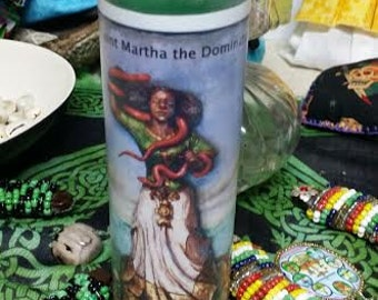 Saint Martha the Dominator, Fixed, Voodoo, Hoodoo, Candle, Conjure, Altar, Ritual, 7 Day, Wiccan, Pagan,