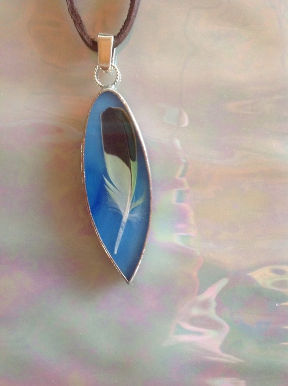 Blue Green Stained Glass Pendant with Green and Black Feather