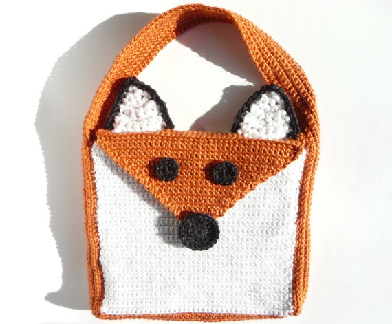 Crochet Crossbody Bag Pattern : Fox Bag CROCHET PATTERN Fox Purse Tote Bag Messenger Bag Cross Body ...