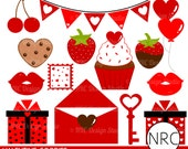 Valentine Clipart Clip Art - Cute Valentine Goodies Gift Letter Key Banner Cupcake Cherry Strawberry Red Clip Art, Commercial Use