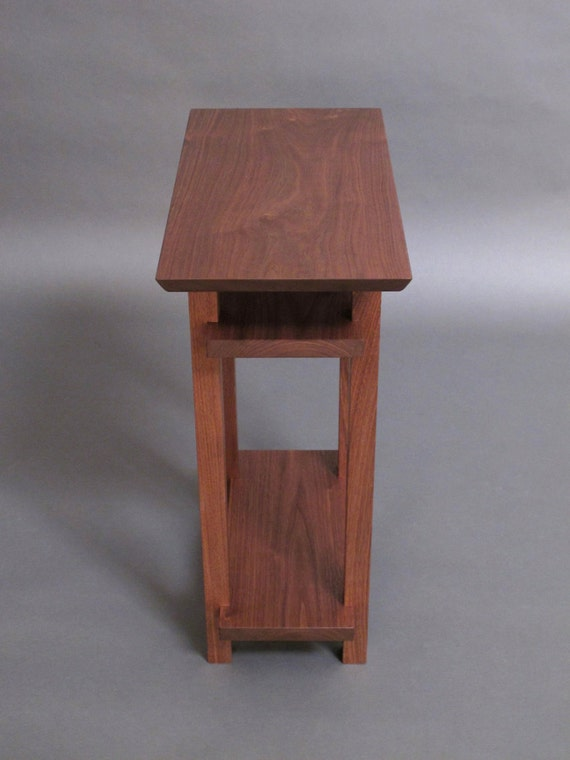 Small Narrow Wood Table with Two Shelves: Small Side Table, Narrow End ...
