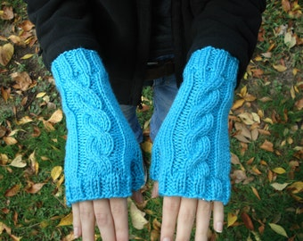Blue Cabled Fingerless Gloves (Long)