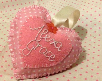 New Baby Name Fabric Heart (Custom Made to Order) ideal Birthday or Christening gift, nursery decor, new baby, nursery art