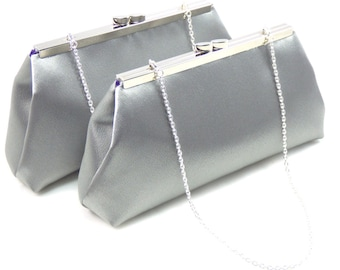 Set Of Two Bridesmaid Clutches, Steel Grey And Blackberry Purple Bridesmaid Gift, Bridal Clutch, Mother Of The Bride Gift, Wedding Clutch