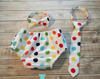 Baby Boy Polka Dot First Birthday Cake Smash outfit Diaper Cover & Tie