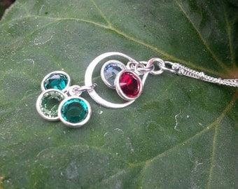 Grandmother infinity style necklace, sterling silver with swarovski birthstones