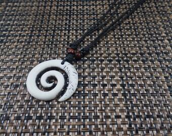 Spiral Necklace - Spiral Symbol  - White Spiral Pendant