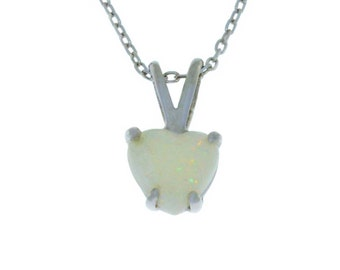 Natural Opal Heart Pendant .925 Sterling Silver Rhodium Finish