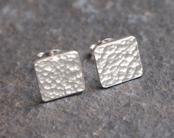 Silver Square Stud Earrings, square sterling silver studs, hammered silver 9mm square earrings, in stock, handmade by arc jewellery uk