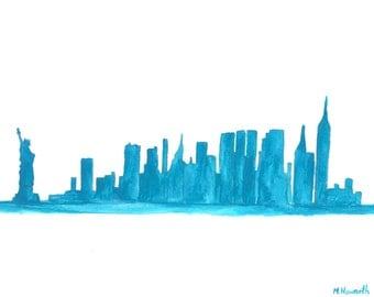 SALE New York art, original watercolour painting New York skyline, blue painting, NYC, 12 x 9 inch