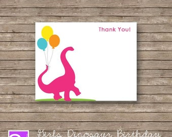 Dinosaur Thank you Card Printable DIY Pink