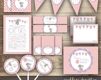 1st Birthday Bunny Party Kit, Easter Birthday, Easter, Spring, Girl's Birthday, Bunny, Rabbit, Pink and Purple - Printable Party Package