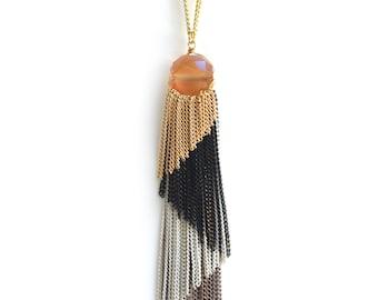 Long Tassel Necklace,Fringe Necklace,Tassel Necklace,Tassel Necklace Gold,Multicolor Tassel Necklace,Long Necklace Gold,Tassel Chain,LN92-CO