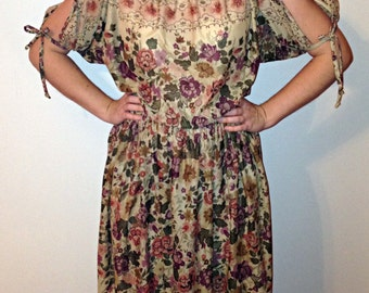 Handmade Vintage Earthy Brown Floral Sheer Layered 70s Boho Hippie Midi Length Tied Peekaboo Shoulder Peasant Sleeve Dress Size Small