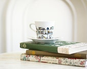 Hand painted porcelain tea cup and saucer -  Book - A - Holic