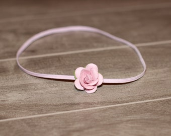 Small Dainty Pink Rose Flower Skinny Elastic Newborn Baby Headband, Photography Prop