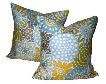 Throw Pillow Cover 18 x 18 inch Turquoise and Yellow Floral Contemporary Pillows Decorative Throw Pillows Cushion Covers Pillow Covers