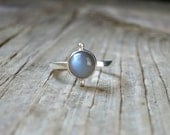 Grey Moonstone Ring - Sterling Silver Moonstone - Silver Stacking Ring - Gray Black Moonstone Stacker - Thin Band