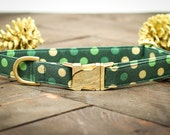 Christmas Dog Collar - Green and Gold Polka Dot Collar, Metallic Gold, Special Occasion, Pets  - Metal Buckle