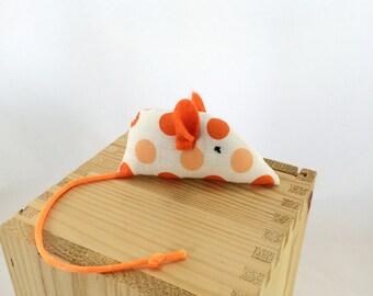 Catnip mouse cat toy, kitten toy,  orange polkadots