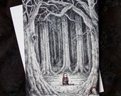 "Art Postcard ""Paranoia"" -A5 (5.8""x8.3"") Fairy tale, illustration, red riding hood"