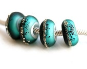 Teal and black Glass bracelet beads, European charms, Etched large hole beads, Handmade Lampwork, European style bracelet, by MayaHoney