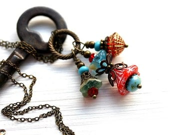 Red and Turquoise Flower Necklace, Floral jewelry, Flower Beaded Pendant on chain, Nature lover gift, by MayaHoney