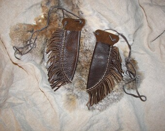 Two Matching Handmade Brown Leather Neck Knife Sheaths with Fringes by Heidi Clauson
